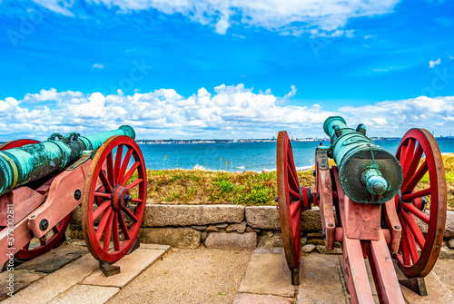 Photographie Cannons of the castle of Kronborg, in the town of Helsingor, Denmark, built in 15th century