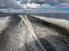 Wave Trail From A Boat Engine ...