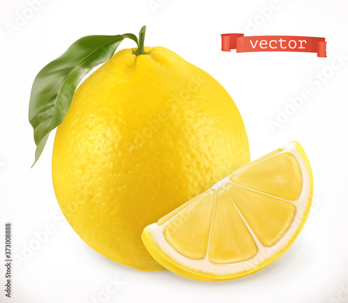 Fototapeta Lemon. Fresh fruit 3d realistic vector icon
