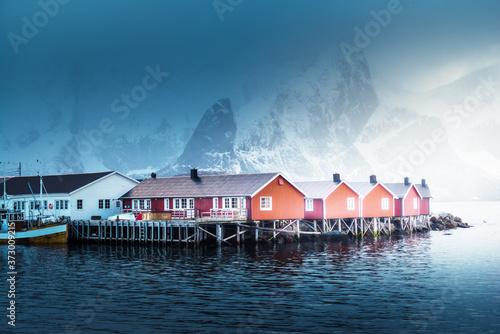Obraz na plátně Hamnoy fishing village, spring time, Lofoten Islands, Norway