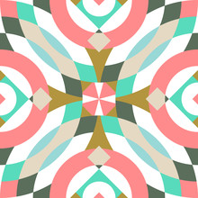 Abstract Grid Based Circular Kaleidoscope Image With Rotation Movement Seamless Pattern In Pastel Colors For Gift Warp, Wallpaper, Surface, Fabric, Textile, Background, Branding, Packaging Design.