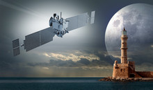 Illustration Of A Satellite Over An Ocean And A Lighthouse With The Moon Shape On The Background