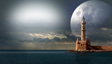 Illustration Of A Lighthouse In The Sea With The Moon Silhouette And Chain Of Clouds
