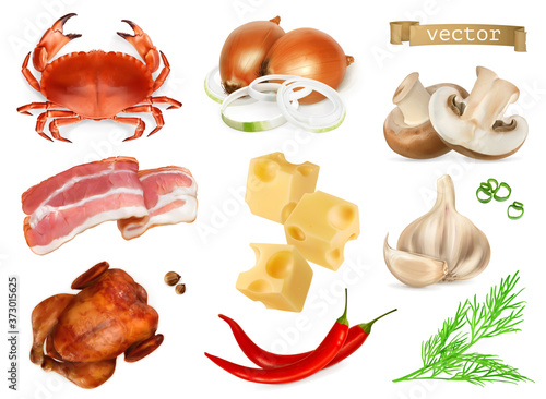 Leinwand Poster Food flavors and seasonings for snacks, natural additives, spice and other taste in cooking