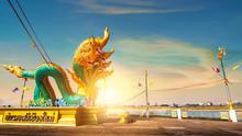 Gold Giant Naga Pagoda In Nort...
