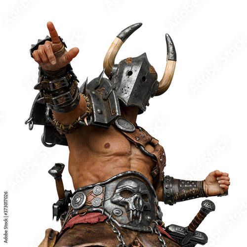 Fototapeta epic warrior man is pointing the way in white background nice view