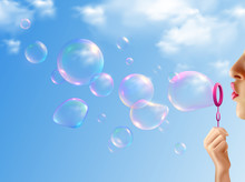 Soap Bubbles Realistic Backgro...