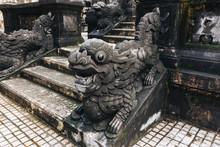 Closeup Shot Of A Dragon Figurine In The Temple In Hue Vietnam