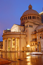 The Christian Science Church Is Reflected In The Rainy Plaza In Boston