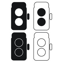 Twin Lens Reflex Film Camera Icon Set | TLR Camera
