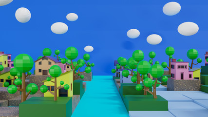 3d rendering village on grown cube and lowpoly tree. world habitat dat concept.