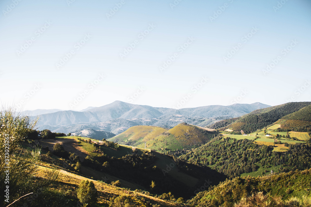 top view mountains landscape with forests, blue sky, Bierzo mountains