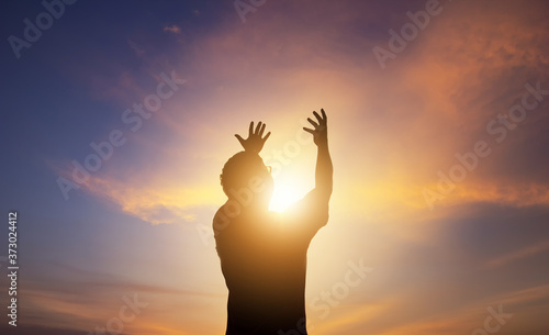 Human hands open palm up worship Fototapet