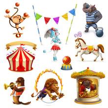 Circus, Funny Animals, Set Of ...