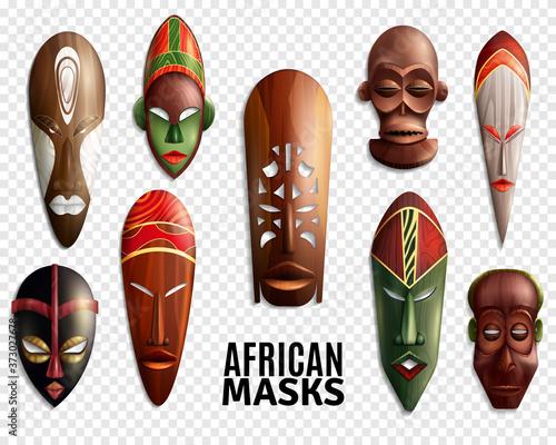 Tela African Masks Transparent Icon Set