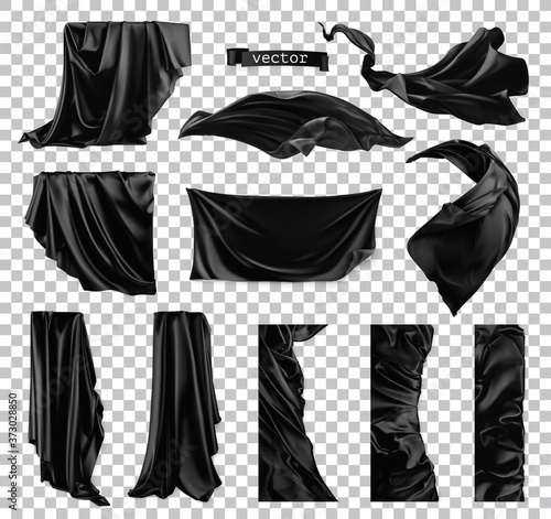 Photo Black curtain vectorized image