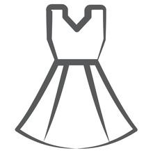 A Beautiful Party Wear Dress, Frock Icon In Line Design