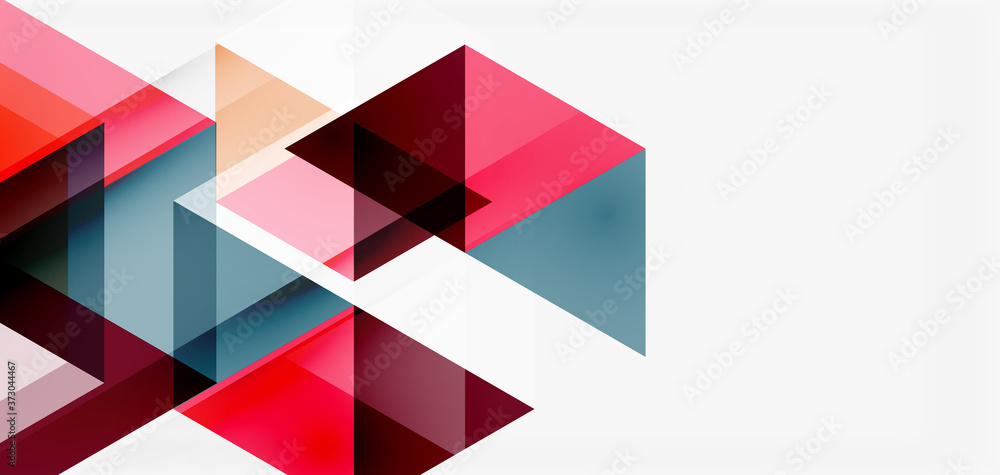 Fototapeta Geometric abstract background, mosaic triangle and hexagon shapes. Trendy abstract layout template for business or technology presentation, internet poster or web brochure cover, wallpaper