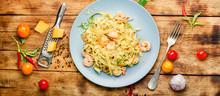 Fettuccine Pasta With Shrimp