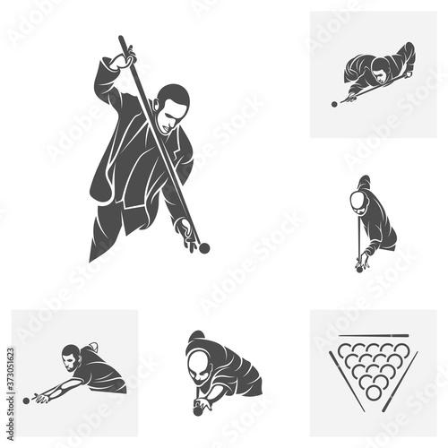 Fotografia Set of Player Billiards logo design vector
