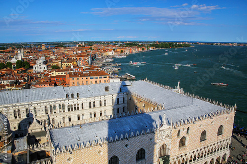 View of Palazzo Ducale and Grand Canal from St Mark's Campanile in Venice, Italy Wallpaper Mural