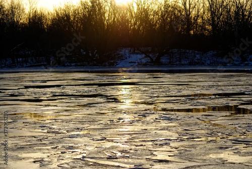 Fototapeta ice melts on the river at dawn, Moscow obraz na płótnie