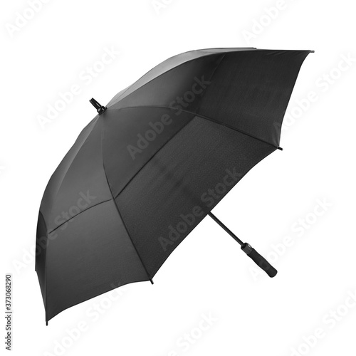 Foto Empty Black Colour Umbrella Isolated on White Background