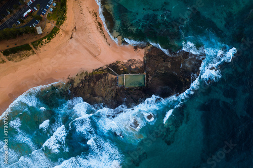 Mona Vale rock pools top down aerial drone photo