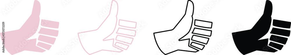 Fototapeta set of icons of thumb up , ok , yes , Like