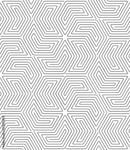 Vector geometric texture. Monochrome repeating pattern with hexagonal tiles.
