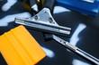 Tools for car tinting closeup, vehicle tuning