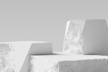 White Pieces Of Stone Wall With Broken Textured Edges, Debris Stone Slabs For Product Display Background. 3d  Rendering.