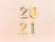 Happy New 2021 Year. Holiday llustration of golden foil numbers 2021. 3d rendering sign. Festive poster or banner design idea.