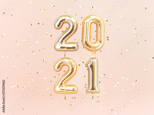Fototapeta Happy New 2021 Year. Holiday llustration of golden foil numbers 2021. 3d rendering sign. Festive poster or banner design idea. obraz