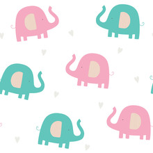 Baby Seamless Pattern With Elephants. Colorful Cute Elephants With With Hearts On A White Background.Creative Vector Childish Background For Fabric, Textile, Nursery Wallpaper. Scandinavian Style.