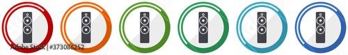 Fényképezés Music speaker, loudspeaker icon set, flat design vector illustration in 6 colors