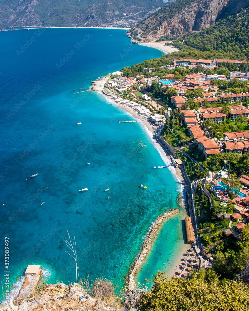 Fototapeta Oludeniz Bay coastal view in Fethiye Town of Turkey