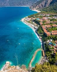 Oludeniz Bay coastal view in Fethiye Town of Turkey
