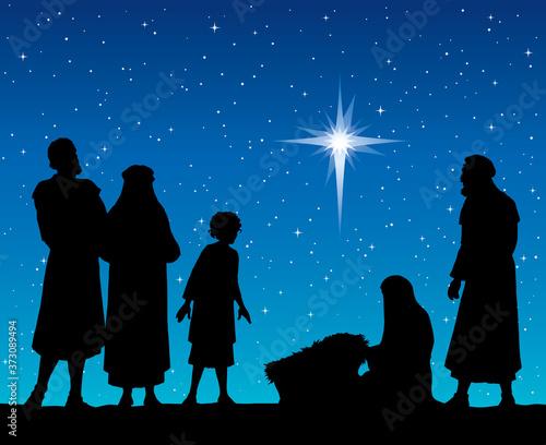The shepherds came to bow to the newborn baby Jesus Fototapeta