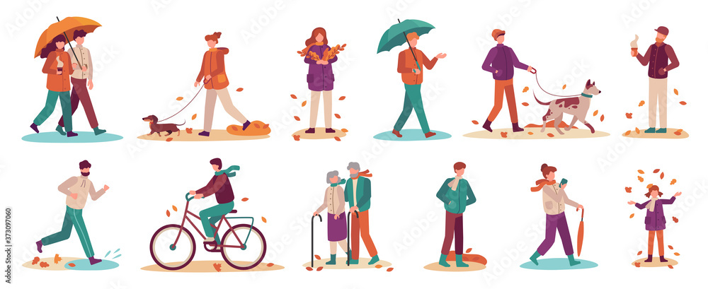 Fototapeta People in autumn. Couple with umbrella in rain, young and old man, woman walk autumn park. Fall season active lifestyle vector set. Boy riding bicycle, girl gathering fallen leaves and throwing
