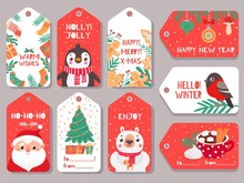 Christmas Tag. Winter Holiday Xmas Gift Labels With Cute Characters Santa, Bear And Bullfinch, Penguin And Festive Lettering Vector Set. Fir Tree With Present Boxes, Cocoa With Marshmallow