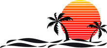 Vector Of Palm Tree Silhouettes On A Gradient Sunset And Sea Wave. Retro Style 80s Logo Or Icon Illustration Design