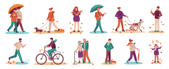 People in autumn. Couple with umbrella in rain, young and old man, woman walk autumn park. Fall season active lifestyle vector set. Boy riding bicycle, girl gathering fallen leaves and throwing