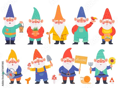 Gnome characters. Cute gnomes with beard funny garden decoration, adorable dwarfs with lantern, watering can and flowers cartoon vector set. Character with shovel with mushrooms, pot with plant