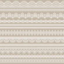 Lace Seamless Border. White Cotton Lace Strips, Embroidered Decorative Ornate Eyelets Pattern, Horizontal Textile Stripe Handmade Vector Set. Romantic Style Tracery For Doily Or Scrapbook