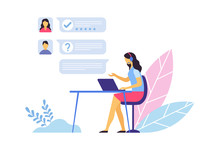 Customer Support. Call Center Operator Sitting At Desk With Laptop And Communication With Clients In Chat. Woman Agent Answering Questions And Requests, Providing Assistance Vector Illustration