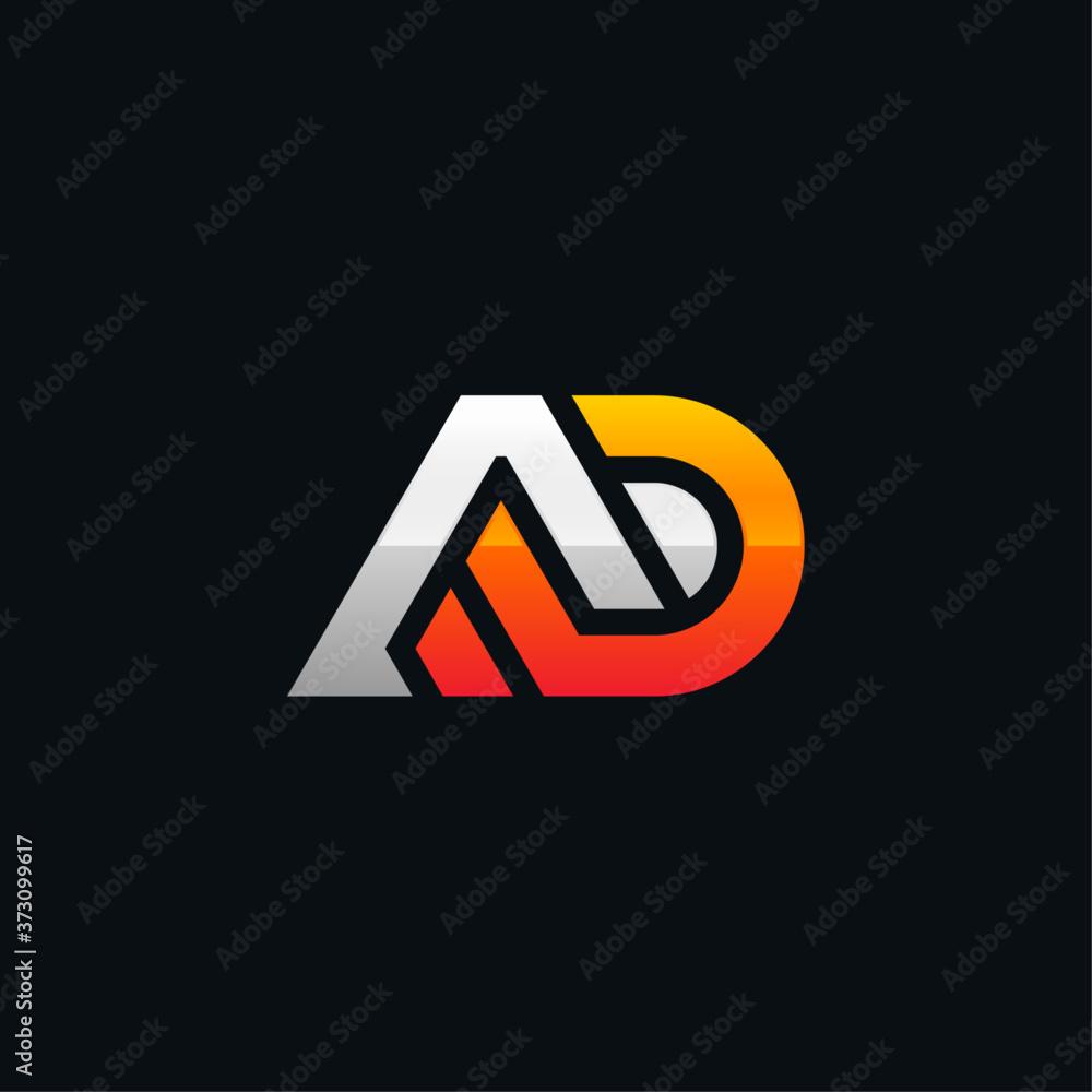 Fototapeta initial logo AD geometric modern