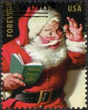 USA - 2018: Shows Santa Claus, Devoted Christmas, Sparkling Holidays, Forever, 2018