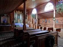 Built In 1932, A Wooden Roman Catholic Branch Church Dedicated To God's Mercy At The Palace And Park Complex In The City Of Łochów In Masovia, Poland