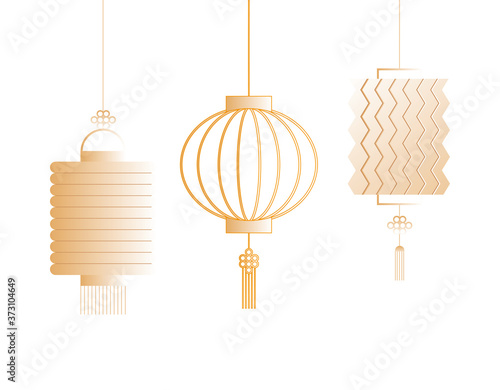 chinese gold lanterns vector design